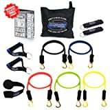 Bodylastics 12 pcs Snap Guard Resistance Bands Set with 5 Stackable anti-snap exercise tubes, Heavy Duty components, carrying case, and printed instructions for the top muscle building exercises