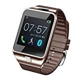 """Aberobay New V8 1.54"""" Wirst Multi-function Smart Watch Bluetooth 4.0 Cell Phone Mate Partner Sync Pedometer Step Walking Counter Activity Tracker Sleep Monitoring Music Player Anti-Lost Dialing Remote Camera Notification Burglar Alarm Ring Vibration for Android 4.0+ IOS 7.0+ Smartphones, Compatable with iPhone 4/4s/5/5s/6 plus Samsung S4/Note 3 HTC Android phone-Golden"""