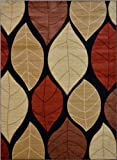 "Nevita Collection Hand Carved Leaves Black Multi Color Contemporary Design Area Rug (5111) (5' 3"" x 7' 1"")"