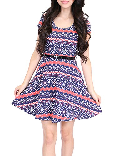 Azkara Womens Belted Multi-Patterned Bodycon Dress Navy Medium