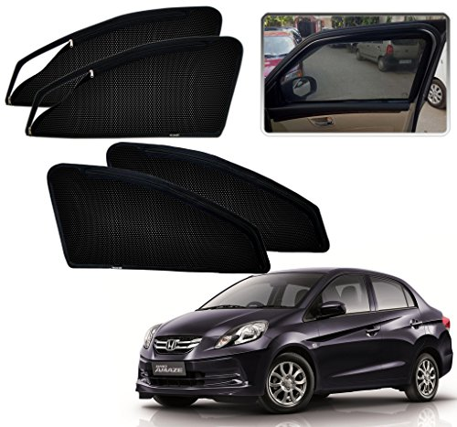Auto Pearl – Premium Quality Zipper Magnetic Sun Shades Car Curtain For – Honda Amaze – Set of 4 Pcs