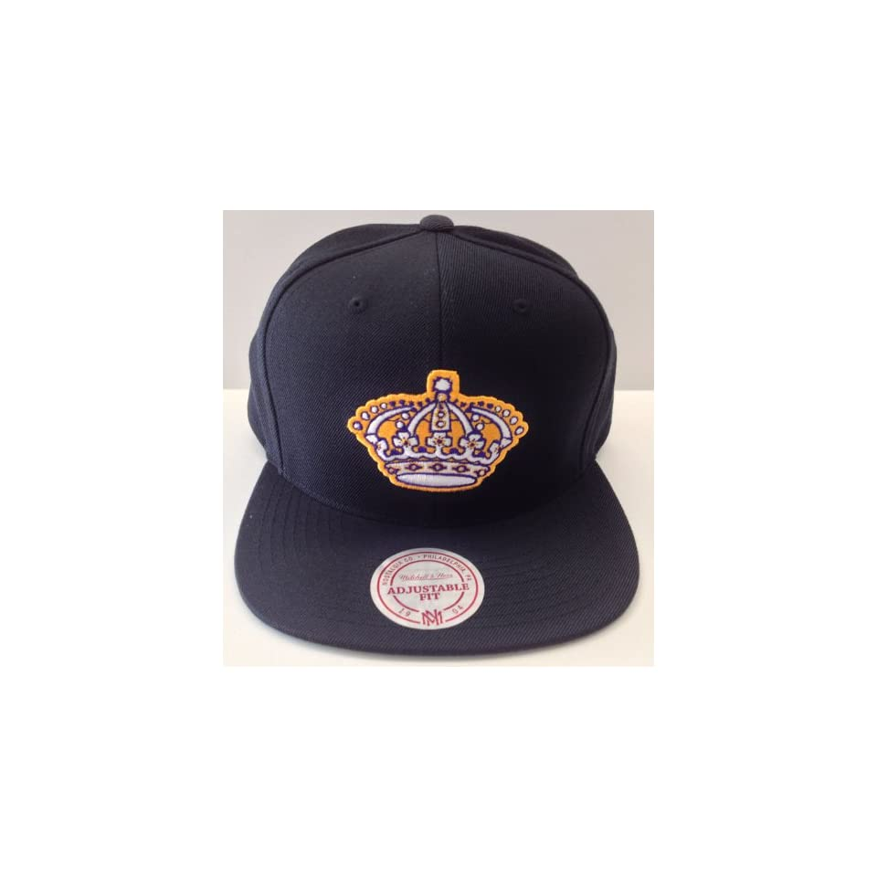 Los Angeles Kings Mitchell & Ness LAKERS Prp Ylw Logo Snapback Cap Hat All Blk