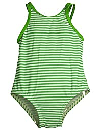 Bunz Kidz - Baby Girls Striped 1 Piece Swimsuit, Green, White 35168-12Months