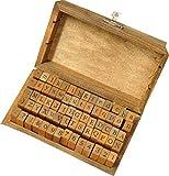[アウトレット品] 限定・アンティークなイニシャル&数字スタンプ70個 木箱入り 活字タイプ