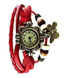Felizer Round Dial Analog Butterfly Watch for Women & Girls (Red)