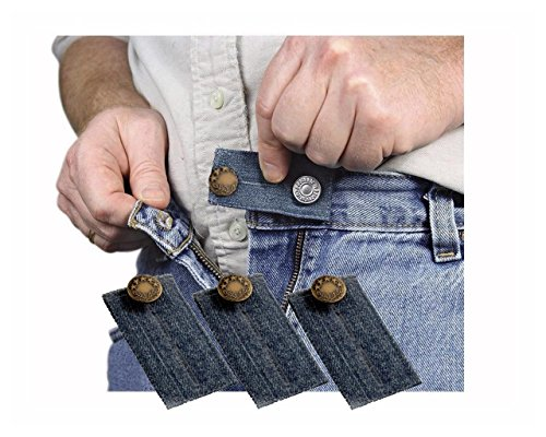 Denim Jean Waist Extender Set of 3 for Men or Women with Gold Finished Metal Button (Jeans Pant For Men compare prices)
