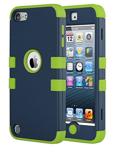 iPod Touch 6 Case,iPod Touch 5 Case,ULAK [Colorful Series] 3 in 1 Anti-slip iPod Touch Case Hard PC+Soft Silicone Hybrid Dust Scratch Shock Resistance Cover for iPod touch 5 6th Gen (Dark Blue/Green) (Colorful Ipod Touch Cases compare prices)