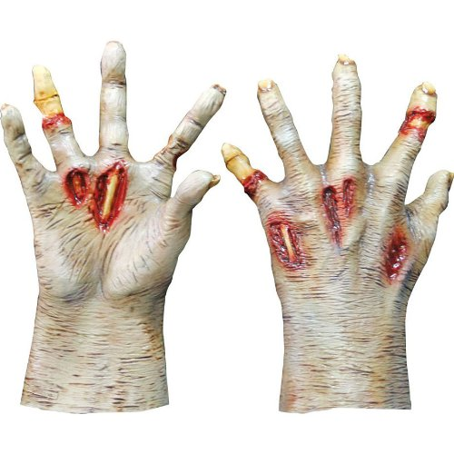 Zombie Light Colored Hands Costume Gloves