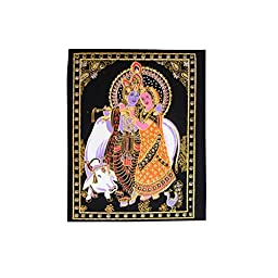 Indian Lord Couple Radha Krishna Glitter Rubber Printed Frameless Painting on Velvet Cloth