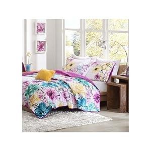 reversible coverlet bed set girls teen bedding floral flowers teal green yellow. Black Bedroom Furniture Sets. Home Design Ideas