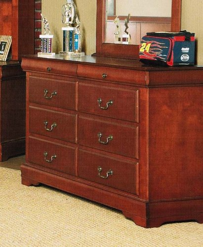 Cheap Kid's Bedroom Storage Dresser with Traditional Style Design in Brown Cherry Finish (VF_AP-3705)