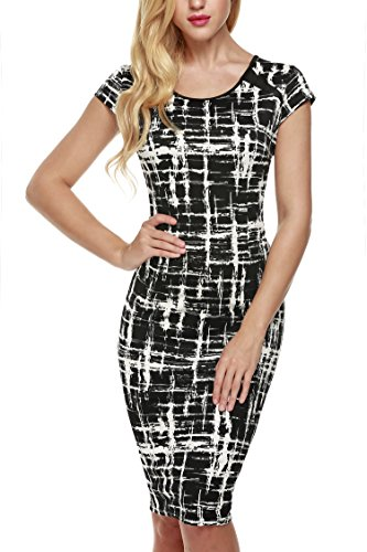 ANGVNS-Women-O-neck-Short-Sleeve-Printed-Wear-to-Work-Business-Stretchy-Bodycon-Dress