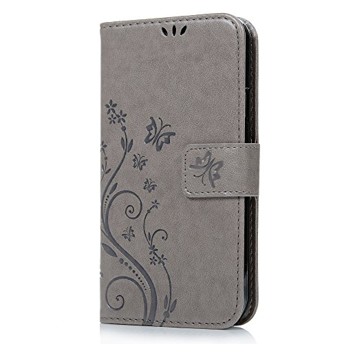 S5 Case,Galaxy S5 Wallet Case - Mavis's Diary Premium PU Leather with Fashion Floral Butterfly Embossed Pattern Magnetic Clasp Card Holders Flip Cover for Samsung Galaxy S5 I9600 & Hand Strap (Gray) (Galaxy S5 Cool Wallet Case compare prices)