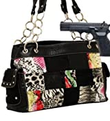 Black Patchwork Fashion Signature Conceal and Carry Purse