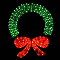 "48"" Lighted Crystal 3-D Outdoor Christmas Wreath Decoration by LB International"