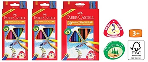 Faber-Castell Junior Triangular Colour Pencils Variants 10 to 30 Colour