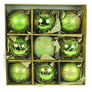 Set Of Nine Green Gold Christmas Tree Baubles 6cm