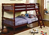 Twin Size Bunk Bed with Ladder in Cherry Finish