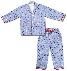 ShopMozo - Cotton Blue Striped Girls Night Suit ( Girls Night Dress ) (SM-00149GIRLSSST_Blue_2-3 Years)