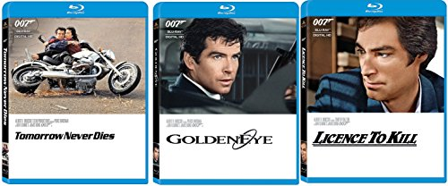 James Bond Film Collection 17/18/19 License To Kill - GoldenEye & Tomorrow Never Dies 007 Blu Ray three films Action Movie Set