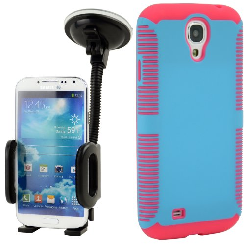 Celljoy Hybrid Tpu 2Pc Layered Sport Hard Case Rubber Bumper + Dash Mount Car Holder Bundle For Samsung Galaxy S4 Siv (At&T / Verizon / Us Cellular / Sprint / T-Mobile / Unlocked) [Celljoy Retail Packaging] (Turquoise Teal Blue & Hot Pink)