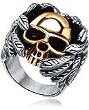 Stainless Steel Mens Gothic Biker Winged Gold Skull Ring