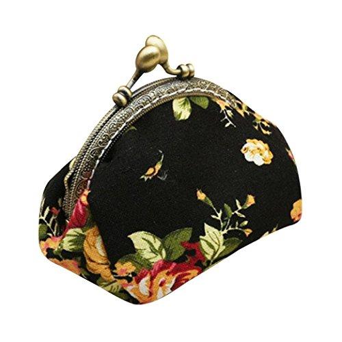 Fortan Signora Women Fashion Retro fiore dell'annata piccolo portafoglio Hasp della borsa della frizione (Nero)