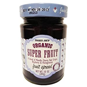Trader Joe's Organic Super Fruit A Blend of Morella Cherry, Red Grape, Blueberry & Pomegranate Fruit Spread