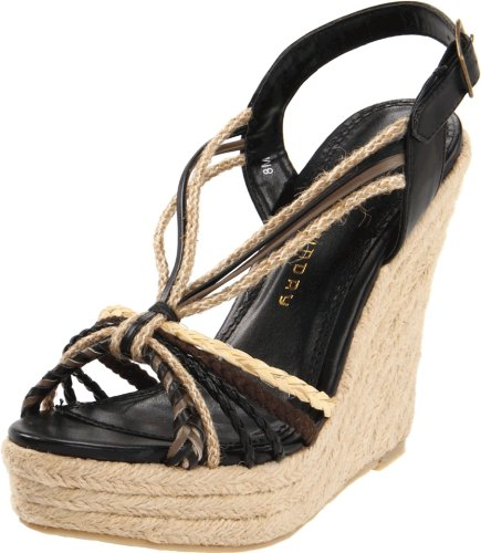 Chinese Laundry Women's Dance Fever Wedge Sandal,Black,8.5 M US