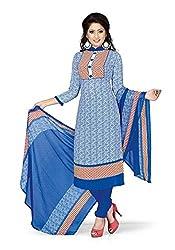 Egale Buzz Women's Silk Cotton Unstitched Dress Material (Blue)