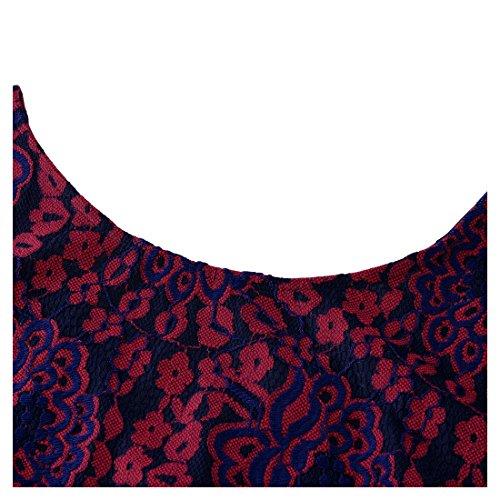 Miusol Women's Vintage Floral Lace Contrast Bow Cocktail Evening Dress