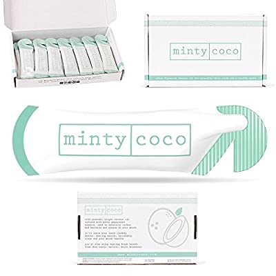 Oil Pulling Kit - Mintycoco Oral Dental Detox - For Naturally Whiter Teeth, Fresher Breath, Healthy Mouth. 14 Day Whitening Supply. Virgin Cold Pressed Coconut Oil Formulated with Peppermint Essence