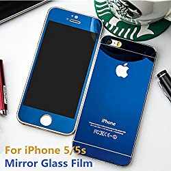 Exoic81 Electroplated Mirror Front + Back Tempered Glass Screen Protector For Apple iPhone 4 / 4S / 4G - BLUE
