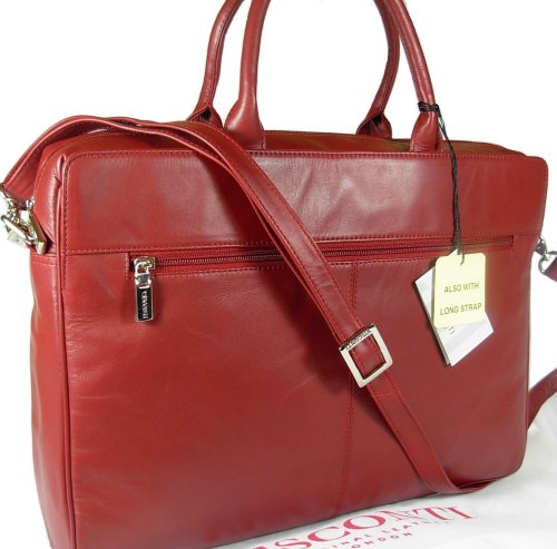 New ladies Visconti dark red leather briefcase laptop bag 18427