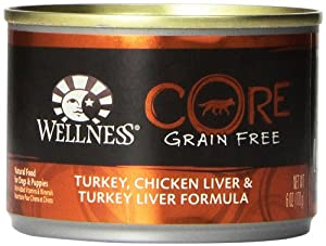 Wellness Grain-Free Canned Dog Food for Adult Dogs, CORE Turkey/Chicken Liver/Turkey Liver Recipe, 6-Ounce Cans, Pack of 24