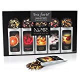 Tea Forté NOIR Single Steeps Organic Loose Leaf Tea Sampler, 15 Single Serve Pouches - Bold Black Tea Varieties