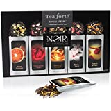 Tea Forte NOIR Single Steeps Organic Loose Leaf Tea Sampler, 15 Single Serve Pouches - Bold Black Teas