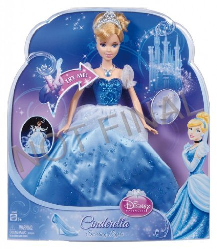 Toy game disney princess swirling lights cinderella doll with