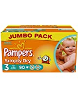 Pampers Simply Dry Couches Midi 4-9 kg Taille 3 Format Jumbopack x 90 Lot de 2