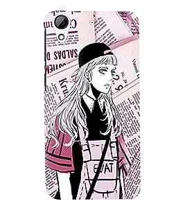 Fuson Premium Modern Girl Printed Hard Plastic Back Case Cover for HTC Desire 728