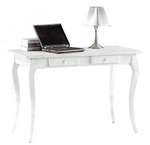CLASSICO scrittoio Shabby Chic struttura legno finitura bianca 2 cassetti 120x60x78 1304