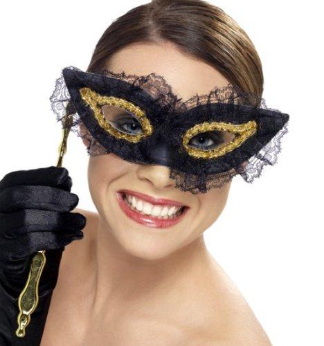 Schöne schwarz-goldene Stab-Maske mit Spitze