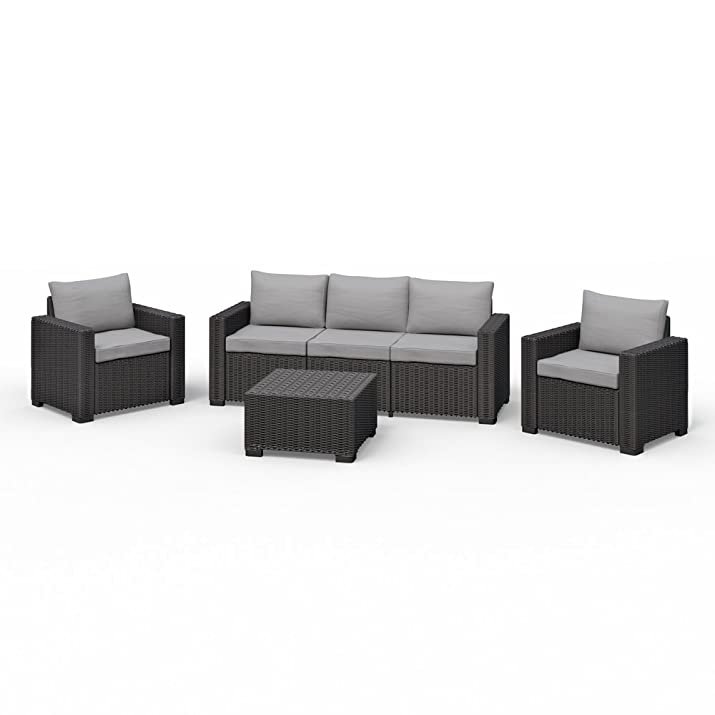 Allibert California Lounge Set mobili da giardino in polyrattan effetto rattan sedile gruppo 4pezzi