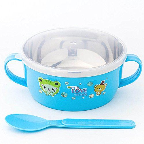 Fairy Baby Stainless Steel Baby Bowl and Spoon Set Warming Tableware,Blue (Stainless Steel Childrens Bowl compare prices)