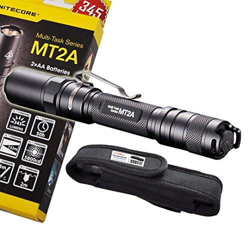 Nitecore Mt2A 345 Lumens Led Flashlight W/ Bonus Premium Holster - Use 2X Aa Batteries