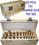 20 PCS Tin Coated End Flute Mill Set