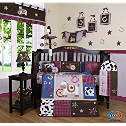 Boutique Horse Western Cowgirl 13PCS CRIB BEDDING SET