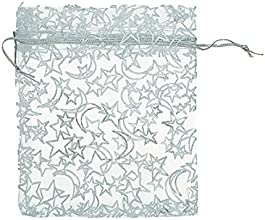 Souarts White Organza Jewelry Gift Pouch Bags Pack of 25pcs