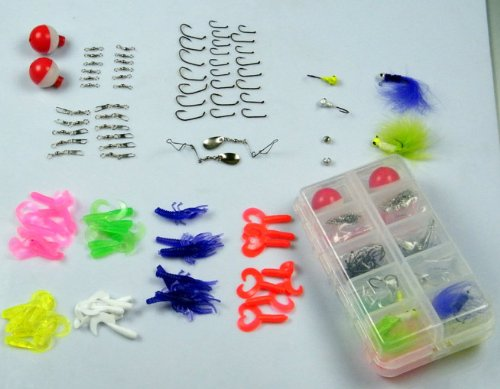 102pcs in 1 Box Pack Fresh Water Fishing Snap Soft Lure Wire Leader Hooks Utility Tackle Box Set Kit Shrimp Lure