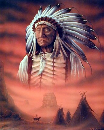 Indian Chief with Tepee Native American Art Print Poster (16x20)